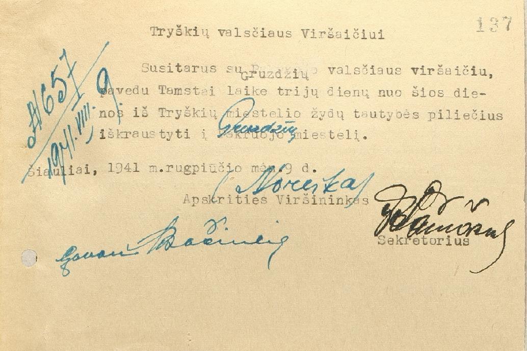 Noreika 1941 08 09 Order to Tryskiai mayor - jew resettle from Tryskiai to Gruzdziai