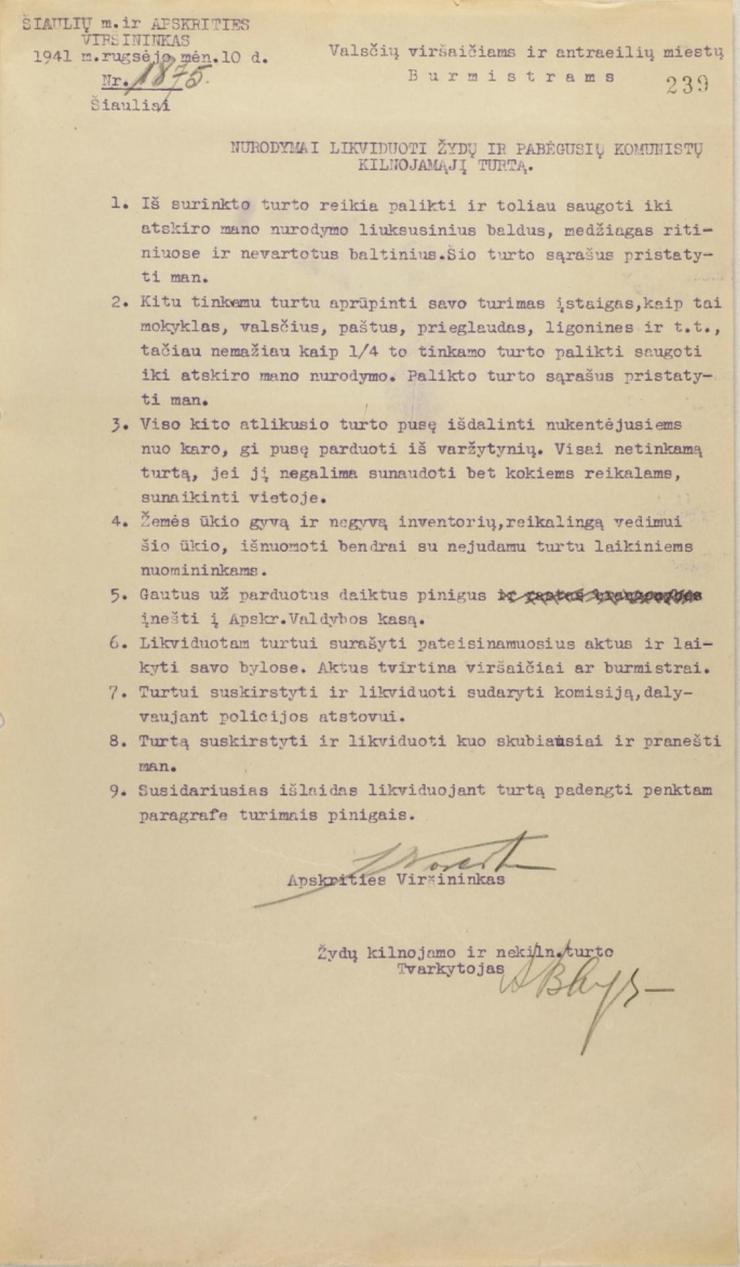 Noreika 1941 09 10 order on Jewish property LCVA-fR-1099-ap1-b1-l 239-