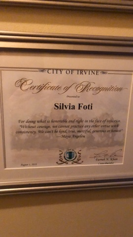 City of Irvine certificate
