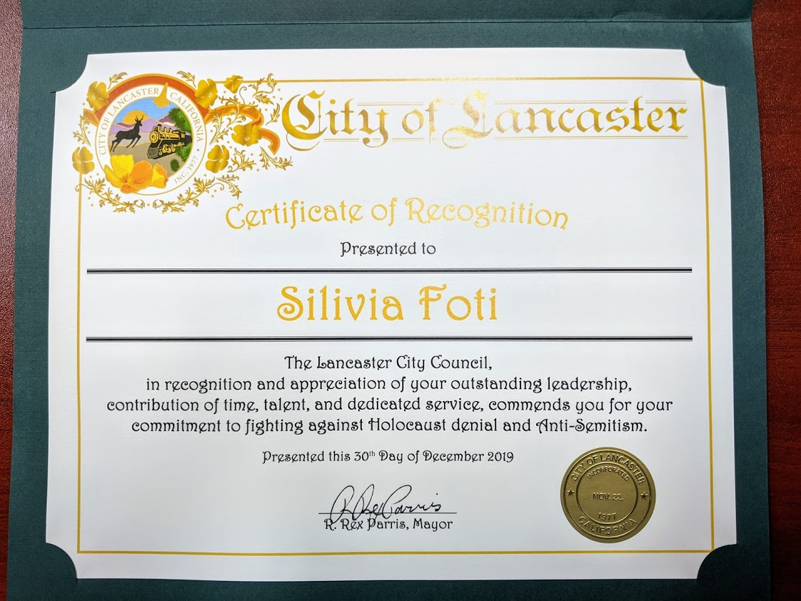City of Lancaster recognition