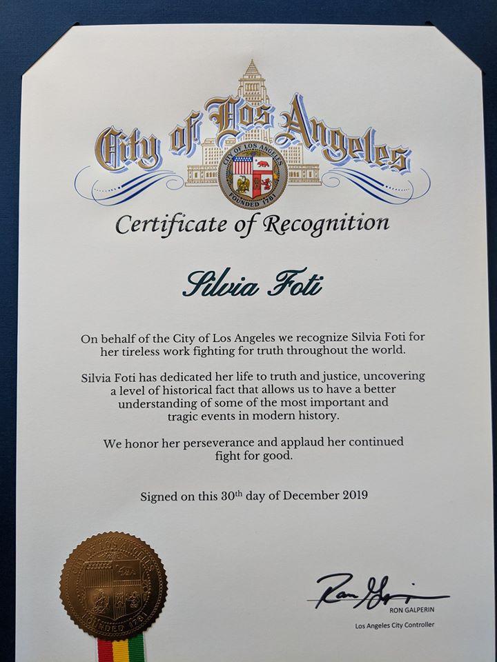 Los Angeles Certificate