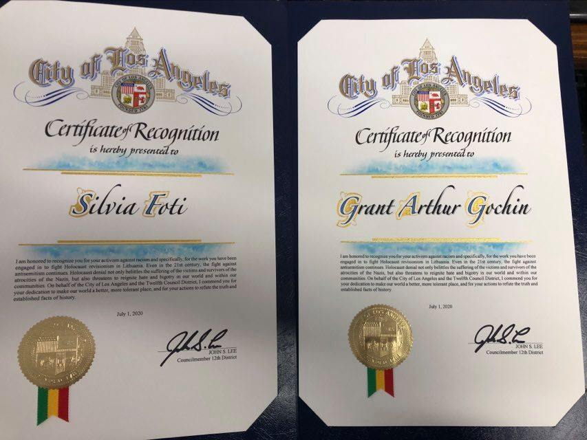 City of Los Angeles recognition